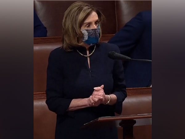 US House Speaker Nancy Pelosi speaking during the debate on impeachment of President Donald Trump.