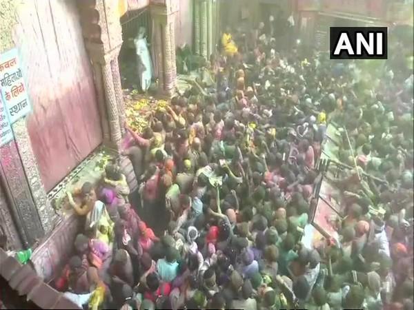 Holi celebration from the Banke Bihari temple in Vrindavan