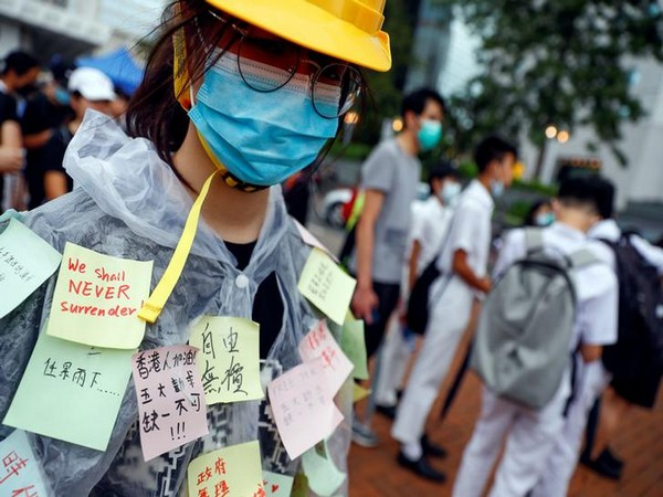 Students during their protest in Hong Kong on Monday. Photo/Reuters