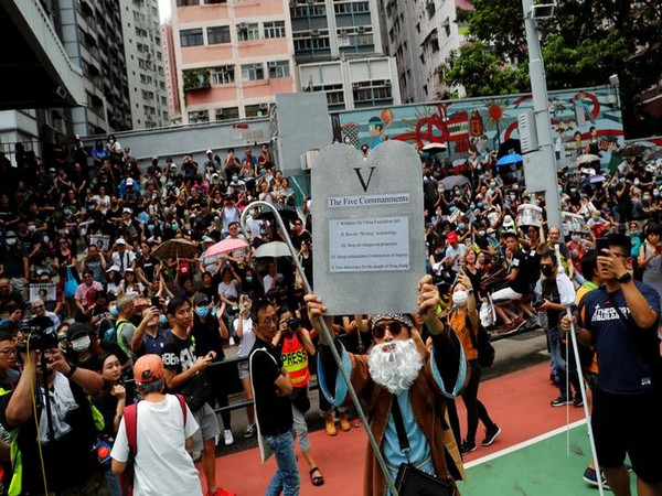 Visuals of the protest in Hong Kong in China on Saturday. Photo/Reuters