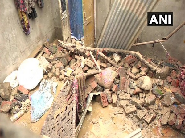 Visuals of the house collapsed in Udhampur during heavy rain on Wednesday. Photo/ANI