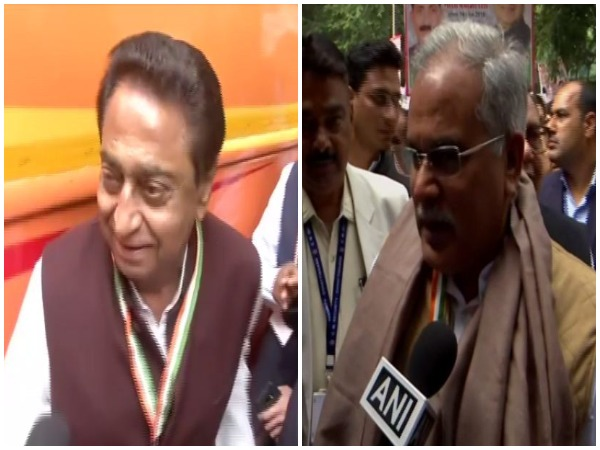 CM Kamal Nath and CM Bhupesh Baghel at the Congress' protest site in New Delhi.