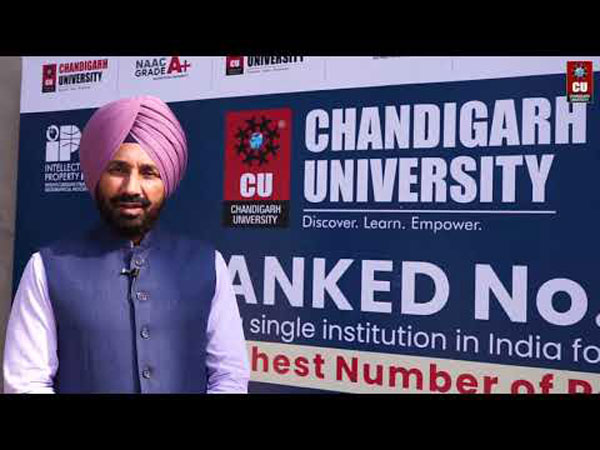 Satnam Singh Sandu and Dr Sanjeet Singh along Young Researchers of Chandigarh University who have contributed in making the University as the Top University of India