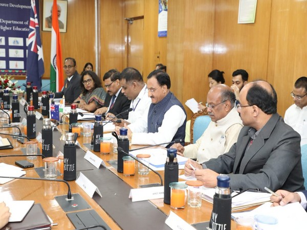 HRD minister Ramesh Pokhriyal holds meeting with Australian delegation led by country's Education Minister Dan Tehan in New Delhi on Friday