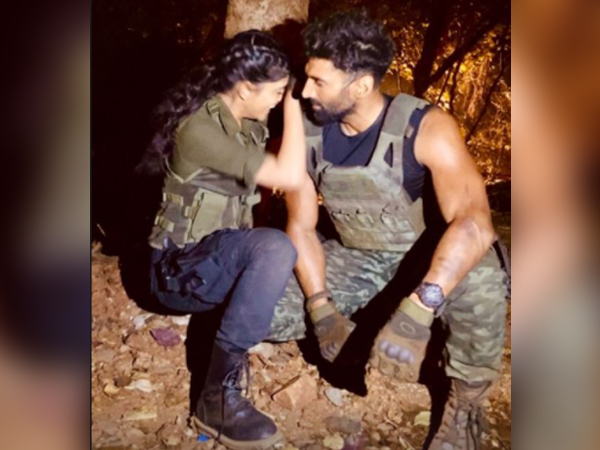 Actors Aditya Roy Kapur, Sanjana Sanghi from the sets of 'Om: The Battle Within' (Image Source: Instagram)