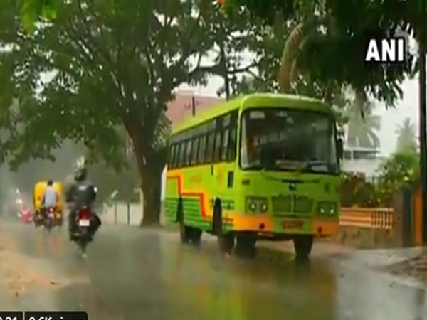 Heavy rain lashes Shivamogga city in Karnataka (Photo/ANI)