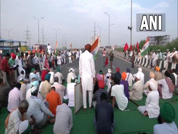 Visual of protests at Delhi's Ghazipur border (Photo/ANI)