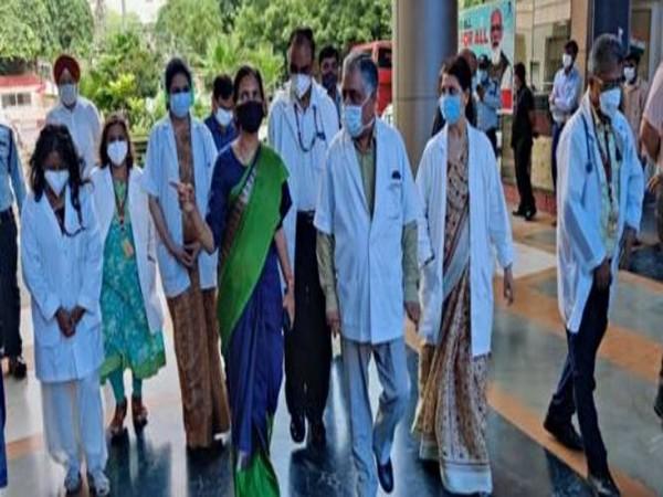 MoS Health Bharti Pravin Pawar during her visit to Delhi's RML Hospital