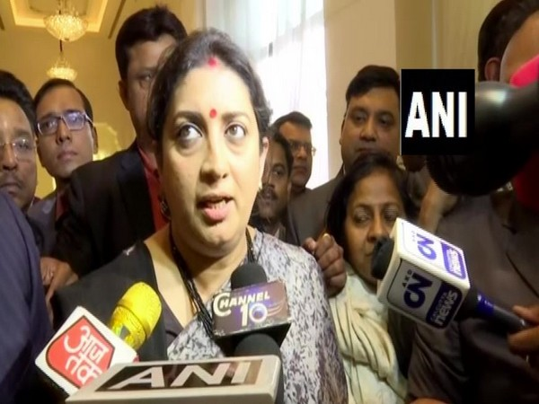 Union Minister Smriti Irani speaking to reporters on Friday in West Bengal's Kolkata. Photo/ANI