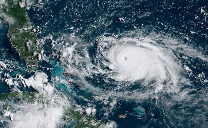 A satellite image of Hurricane Dorian