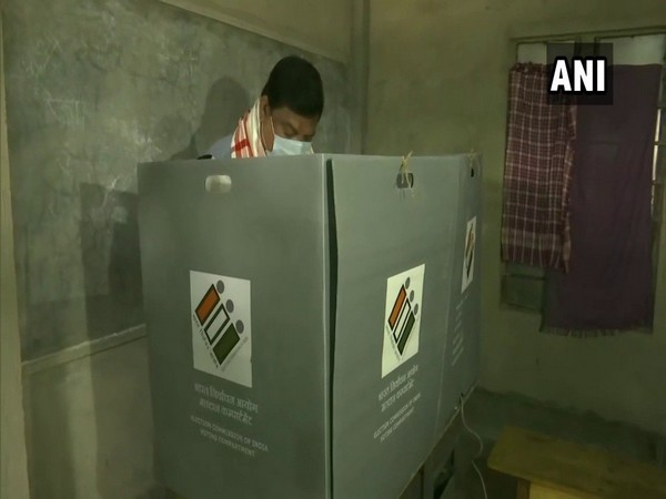 Congress leader Rockybul Hussain casts vote at polling booth in Amoni (Photo/ ANI)