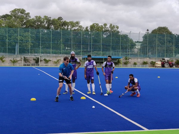 Players undergoing training at the defenders' camp in Bengaluru. (Photo/Hockey India Twitter)