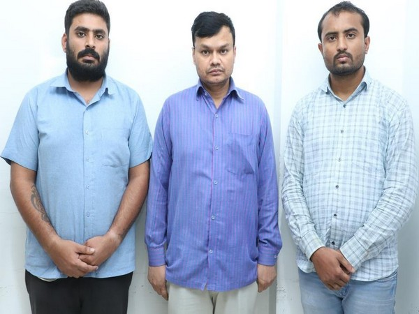 Cyber Crime Police of Cyberabad Commissionerate has nabbed a 3-member gang for committing identity theft in Hyderabad on Saturday [Photo/ANI]