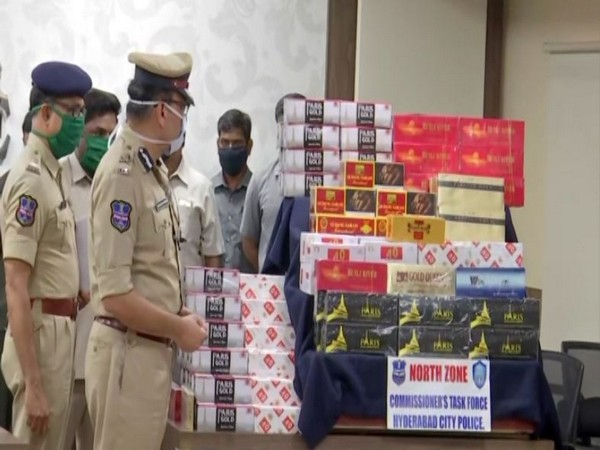 Hyderabad Police busts illegal racket of import and sales of foreign cigarettes. (Photo/ANI)