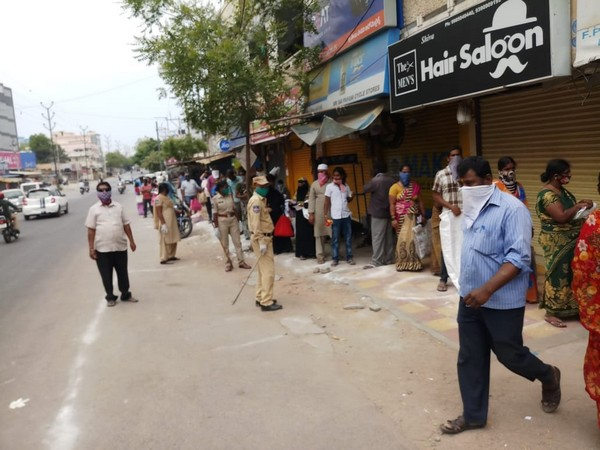 Police deployed at ration shops to maintain social distancing in Hyderabad. Photo/ANI