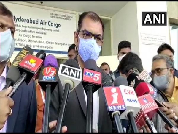 Hyderabad airport CEO Pradeep Panicker speaking to media on Tuesday.