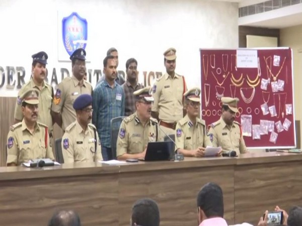 Visuals from press conference of Anjani Kumar in Hyderabad on Wednesday.