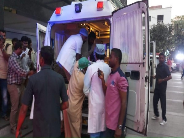 A visual of the ambulance carrin Hyderabad.