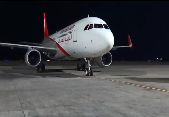 A visual of the Air Arabia Special Passenger Relief Flight for the UAE citizens at GMR Hyderabad International Airport.