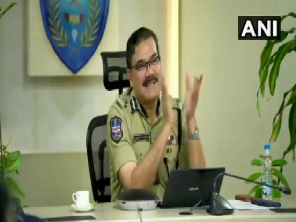 Hyderabad City Police Commissioner Anjani Kumar at a video conference with police personnel on Thursday.