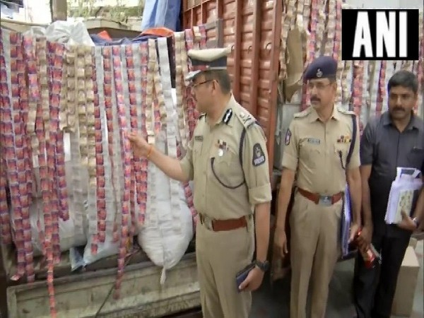Police seize illegal tobacco products in Hyderabad, Telangana on Monday Photo/ANI.