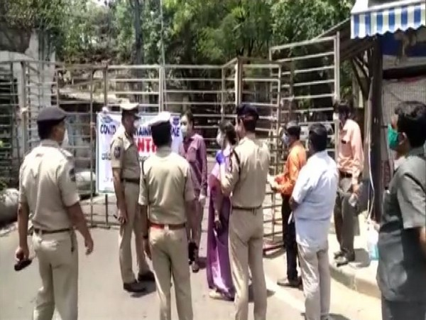 Police personnel at containment zone area in Hyderabad on Thursday. Photo/ANI