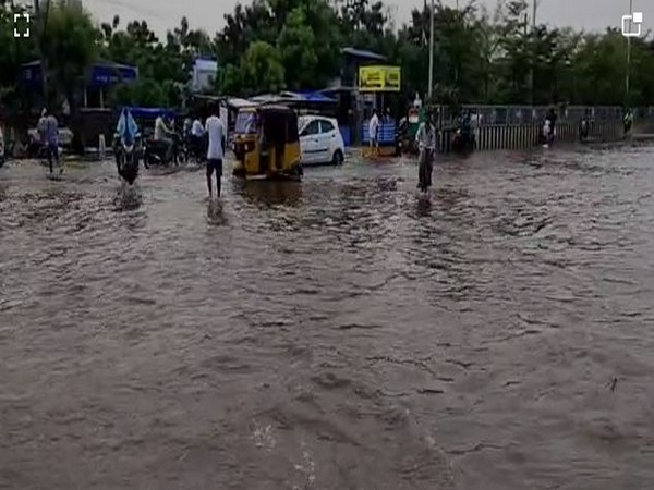 Roads in Machilipatnam town were water logged following heavy rain in the area (Photo/ANI)