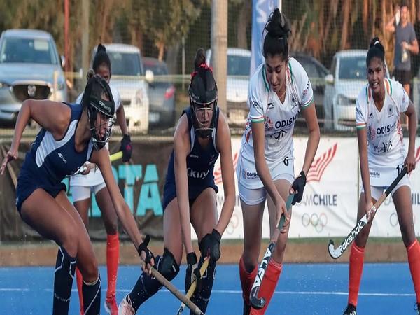 Indian junior women's hockey team in action against Chile senior women's team (Photo/ Hockey India website)