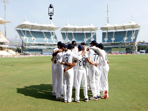 Indian players in a huddle (Photo/ BCCI Twitter)