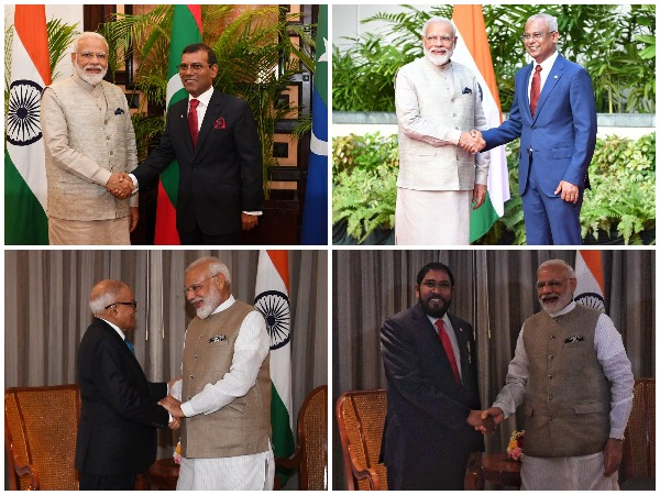 Prime Minister Narendra Modi meeting with several Maldivian leaders in Male on Saturday. (Picture Credits: PMO Twitter)