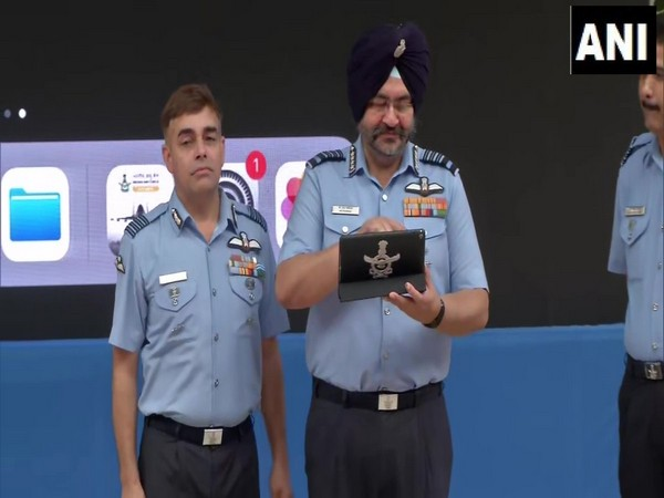 Air Chief Marshal BS Dhanoa launching combat-based mobile game 'Indian Air Force: A cut above' in Delhi on Wednesday. Photo/ANI