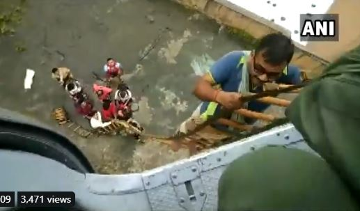 IAF helicopter rescued nine people stranded at a place in Kalyan, Maharashtra on Saturday.