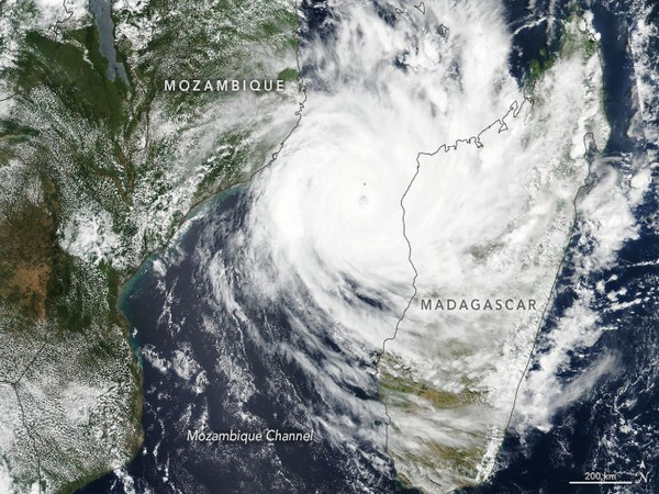 Satellite image of Cyclone Idai which made landfall in Mozambique on March 14.