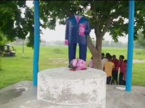 A vandalised statue of Dr BR Ambedkar at one of the villages in Azamgarh.