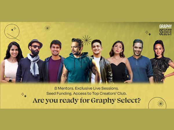 From left to right: Chhavi Mittal (SIT), BeYou Nick, Dhruv Rathee, Gaurav Taneja, Ranveer Allahbadia, Barkha Singh, Ankur Warikoo, Diipa Khosla the top 8 mentors of Graphy Select