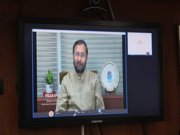 Union Environment Minister Prakash Javadekar addressing the attendees through a video message.