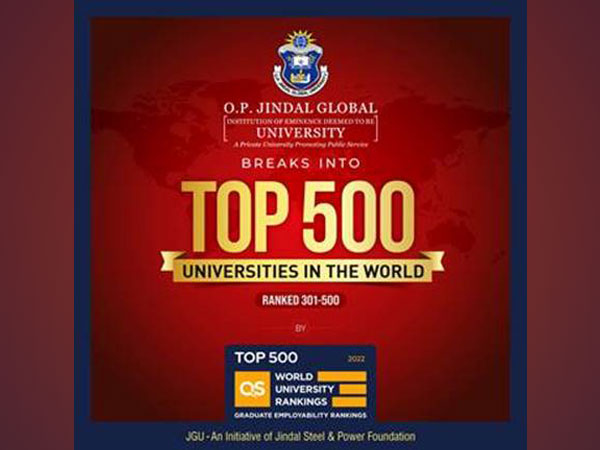 O.P. Jindal Global University breaks into the World's top 500 Universities in the QS Graduate Employability Rankings 2022
