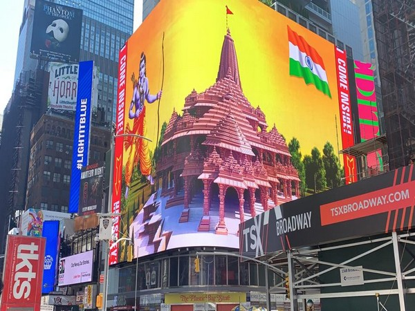The high-definition digital display of Lord Ram and proposed temple at Ayodhya on Broadway, New York. Photo/ANI