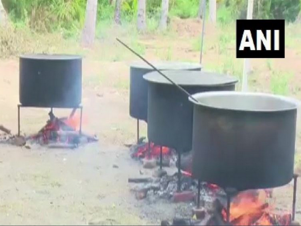 Open stoves set up to prepare over 300 kgs of biryani at Meerapalli mosque