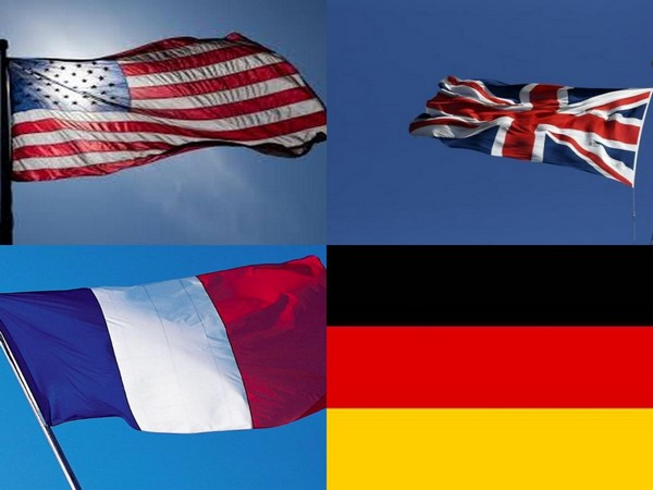 Flags of US, UK, France and Germany.