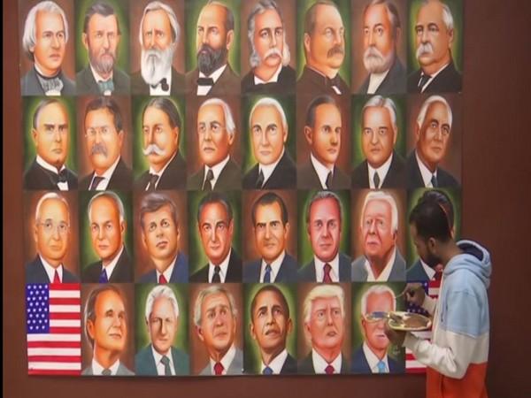 Rubal adds US President-elect Joe Biden to his painting. (Photo: ANI)