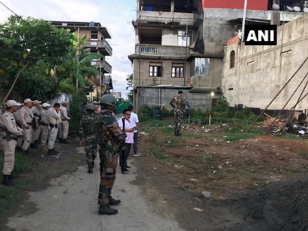 Security Forces outside AITC MLA L Sushindro's residence in Imphal, Manipur on July 4. Photo/ANI