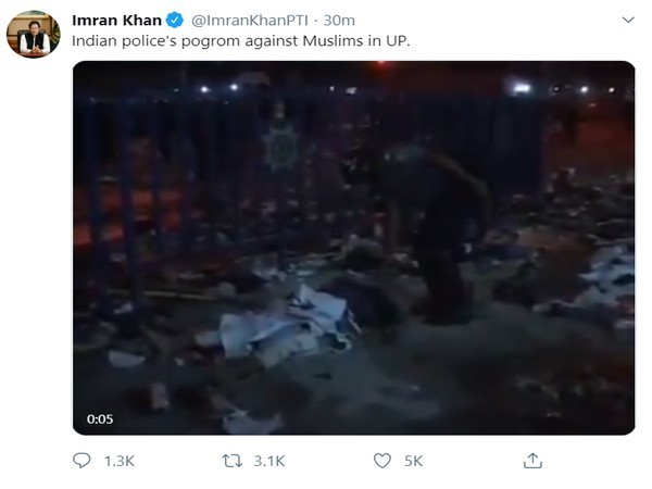 A now-deleted tweet of the fake video posted by Pakistan Prime Minister Imran Khan.