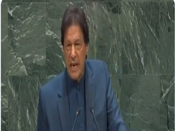 Pakistan Prime Minister Imran Khan speaking at the UNGA session in New York on Friday