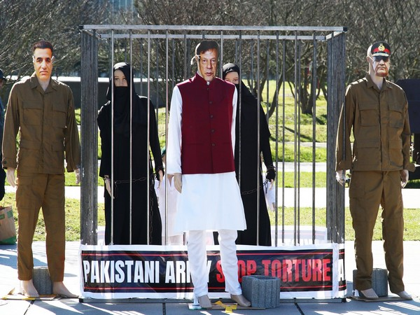 Cage-like structure and mannequins displayed outside UNHRC headquarters in Geneva in a symbolic enactment of the atrocities carried out by Pakistani Army