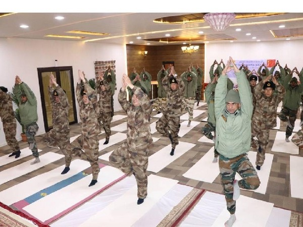 Indian, Chinese troops perform yoga after ceremonial meet in Ladakh, Jammu and Kashmir on June 21. Photo/ANI