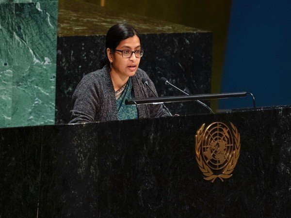 Indian diplomat Vidisha Maitra speaking at the United Nations General Assembly in New York