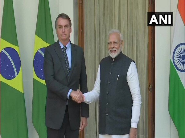 Brazilian President Jair Bolsonaro and Prime Minister Narendra Modi at Hyderabad House in New Delhi on Saturday