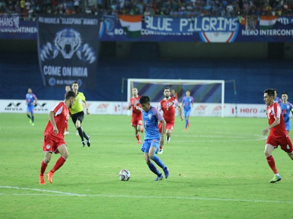 Players in action in the match between India and Tajikistan on Sunday.