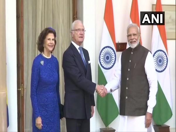 Prime Minister Narendra Modi with Swedish Royal Couple in New Delhi on Monday.